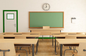 classroom without student with wooden furniture and green balckboard on brickwall-rendering
